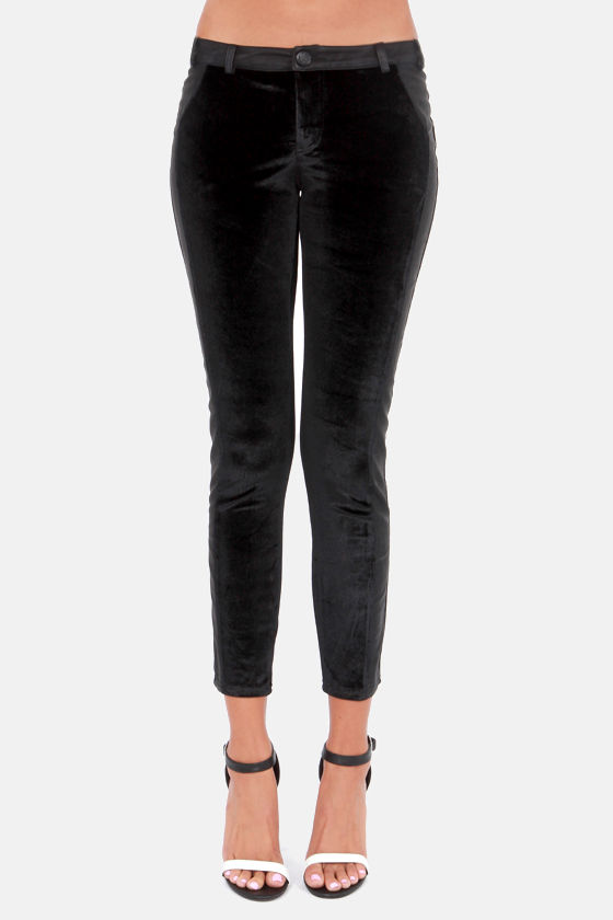 The Clock Strikes Velvet Black Velvet Pants at Lulus.com!