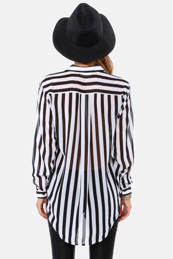 To Distant Bands Black and White Stripe Top at Lulus.com!