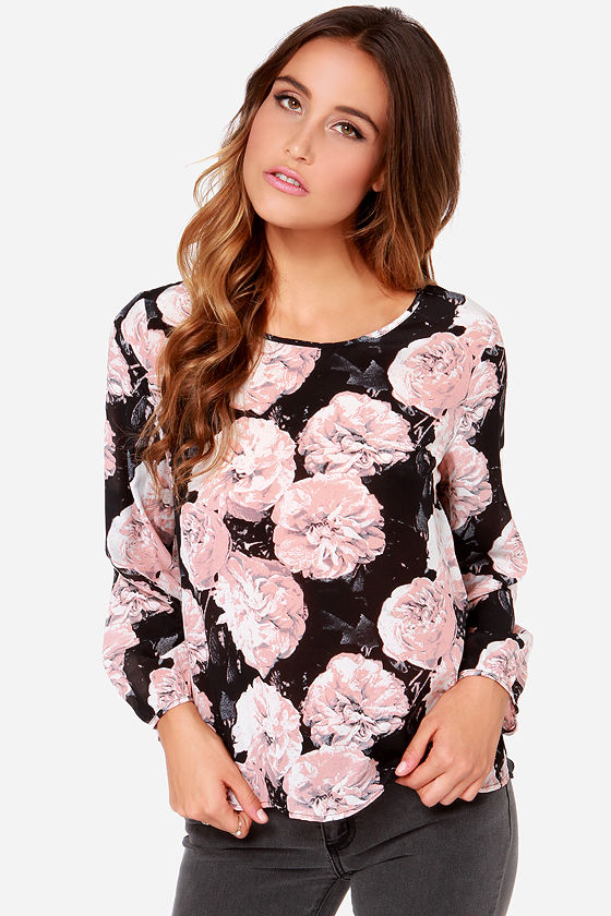 1abd568a927e67 Floral Print Top - Long Sleeve Top - Silk Top - Black Top -  81.00