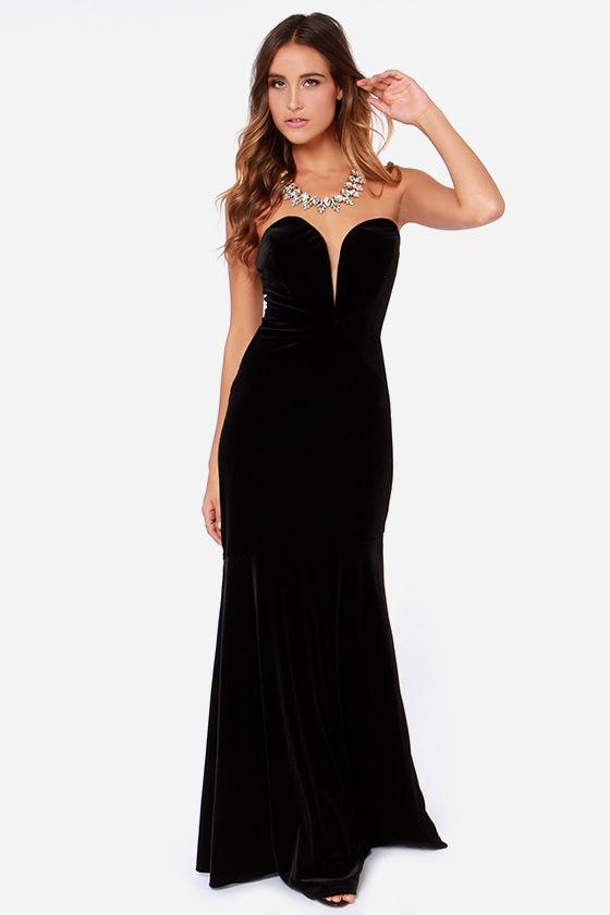 Strapless Dress - Maxi Dress - Black Dress - Velvet Dress - $131.00