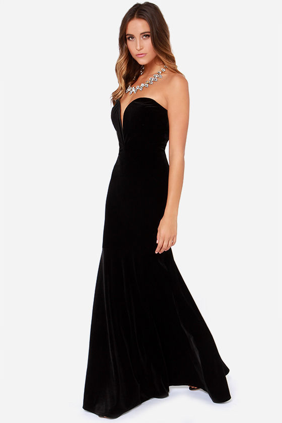 Strapless Dress - Maxi Dress - Black Dress - Velvet Dress - $131.00