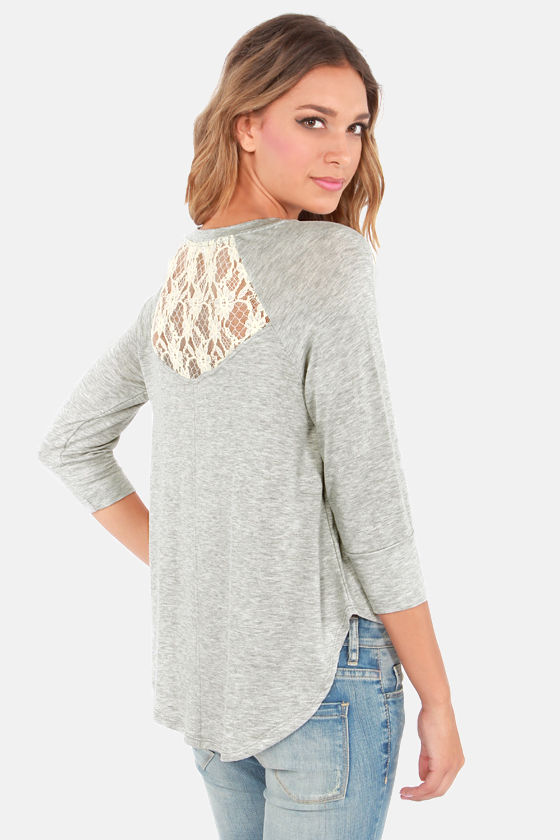 Cruise in Comfort Grey Lace Top at Lulus.com!
