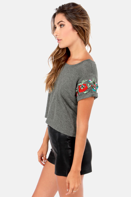 What's Mine Is Fleurs Embroidered Grey Tee at Lulus.com!