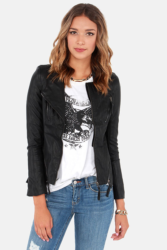 Cute Black Jacket - Vegan Leather Jacket - Moto Jacket - $95.00