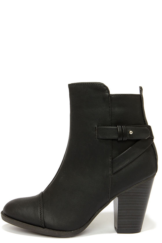 Cute Black Boots - High Heel Boots - Ankle Boots - $38.00