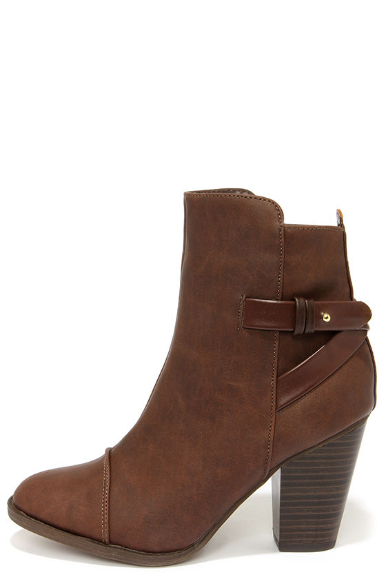 c4e7e35aedf0 Cute Brown Boots - High Heel Boots - Ankle Boots -  38.00