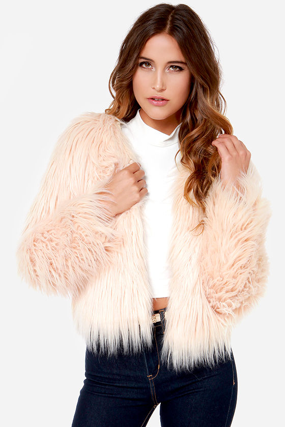 Cream Jacket - Cropped Jacket - Faux Fur Jacket - $63.00