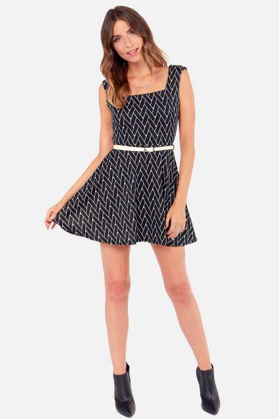 Do You Be-Weave In Love Black Skater Dress at Lulus.com!