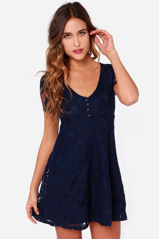 Short Sleeve Dress - Lace Dress - Navy Blue Dress - $67.00