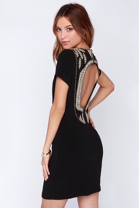 Little Black Dress - Beaded Dress - Backless Dress - $59.00
