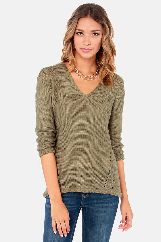 My Cup of Tea Olive Green Sweater at Lulus.com!