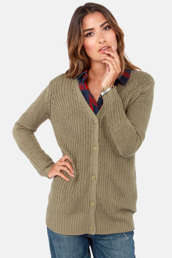 Cardigan and Again Olive Green Sweater at Lulus.com!