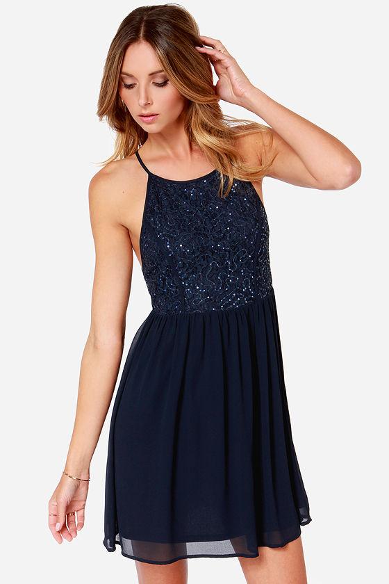 Navy Blue Dress - Sequin Dress - Party Dress - $45.00