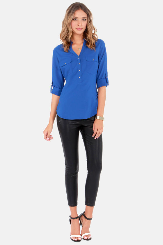 Come and Get It Blue Button-Up Top at Lulus.com!