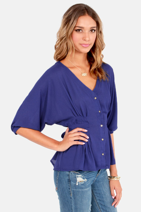 V Yourself Blue Button-Up Top at Lulus.com!