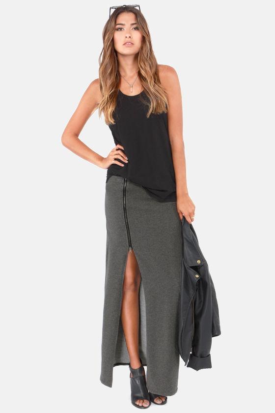 Cute Grey Skirt - Maxi Skirt - Knit Skirt - Slit Skirt - $37.00