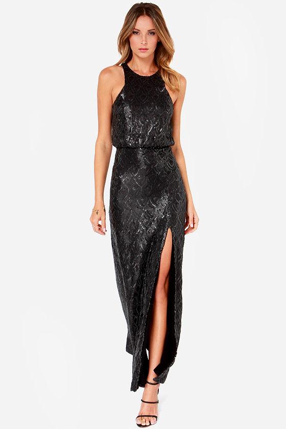 Line And Dot Monroe Dress - Black Dress - Maxi Dress - Sequin ...