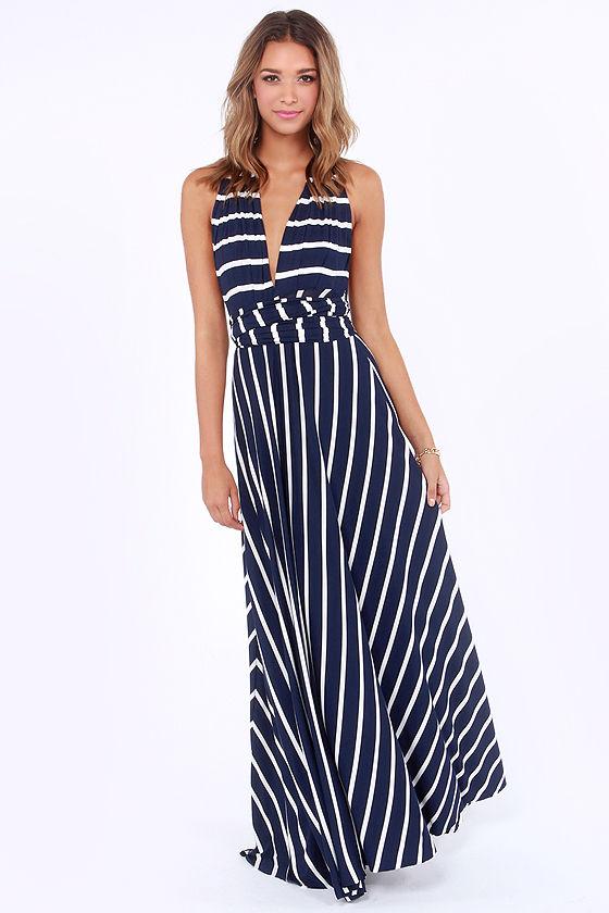 Awesome Striped Dress - Maxi Dress - Wrap Dress - $78.00