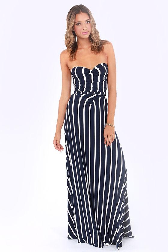Tricks of the Trade Navy Blue Striped Maxi Dress at Lulus.com!