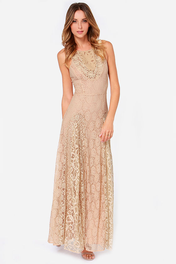 Pretty Beige Dress - Lace Dress - Maxi Dress - Tan Dress - $140.00