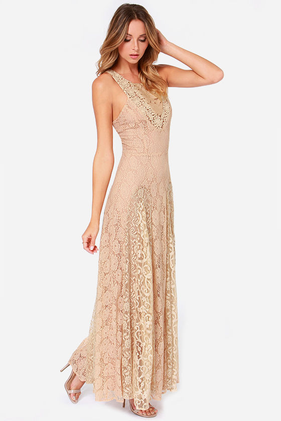 pretty beige dress lace dress maxi dress tan dress