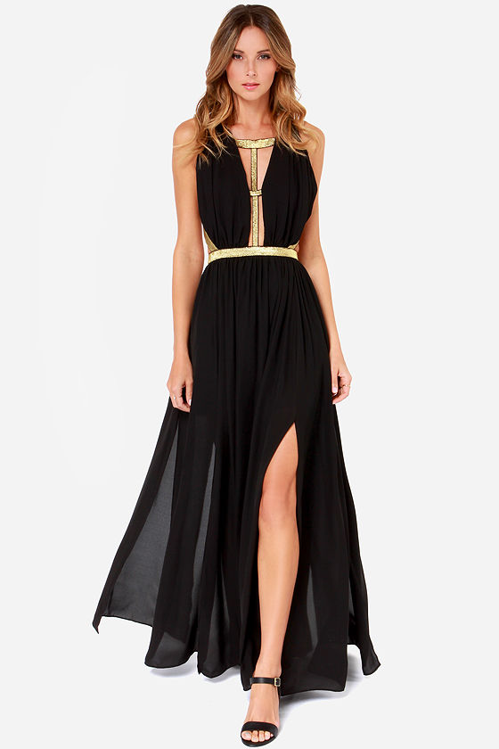 Pretty Black Maxi Dress - Plunging Dress - $64.00