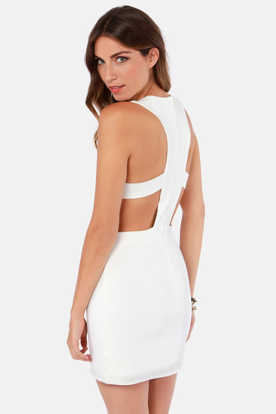 Abstract Your Age Cutout Black and Ivory Dress at Lulus.com!