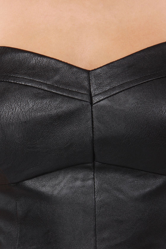 Hot and Bothered Black Vegan Leather Bra Top at Lulus.com!