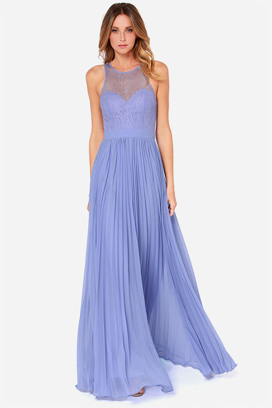 Bariano Lacie Dress - Periwinkle Dress - Lace Dress - Maxi Dress ...