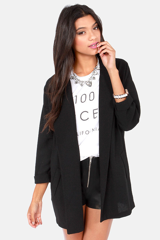 What's the Big Idea Black Blazer at Lulus.com!
