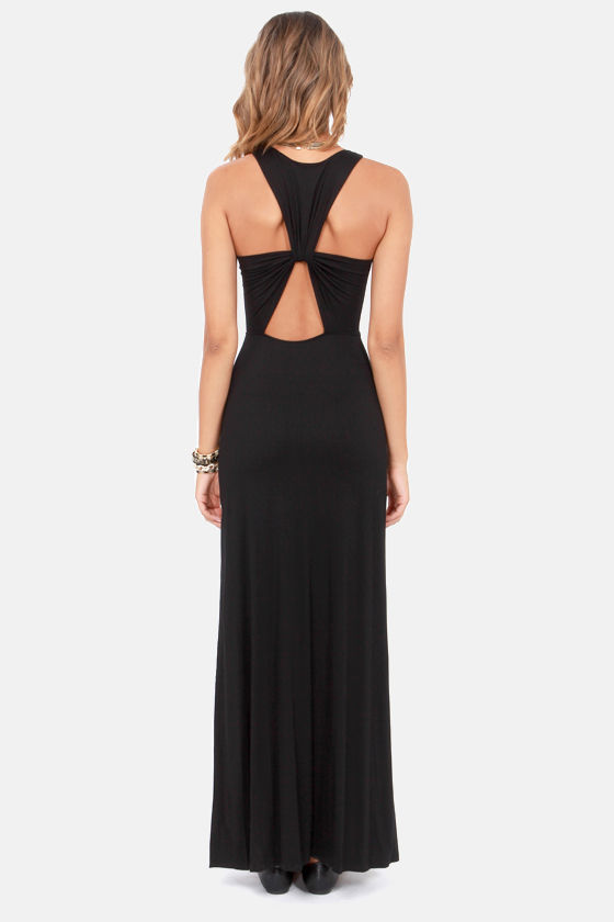 Twist and Tell Black Backless Maxi Dress at Lulus.com!
