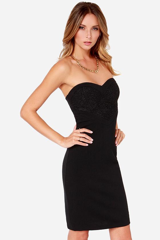 Secret strapless black bodycon dress near me for women home parties