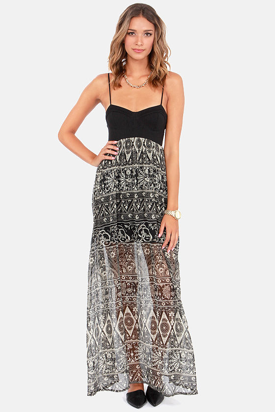 Billabong Sweet Lyrics Black Print Maxi Dress at Lulus.com!