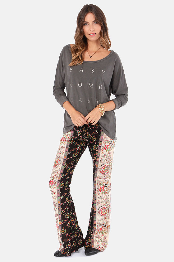 Billabong Milla Bell Bottom Print Pants at Lulus.com!