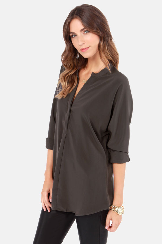 Days on Trend Dark Grey Long Sleeve Top at Lulus.com!