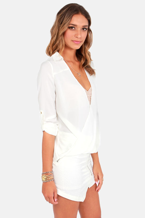 Hide and Chic Ivory Top at Lulus.com!