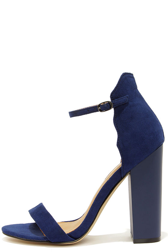 Cute Navy Blue Heels Ankle Strap Heels Dress Sandals