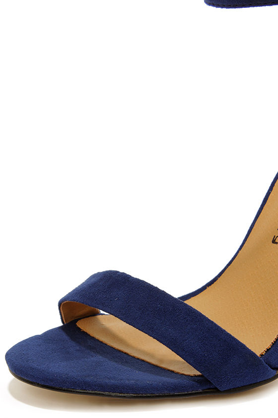 Cute Navy Blue Heels - Ankle Strap Heels - Dress Sandals - $79.00