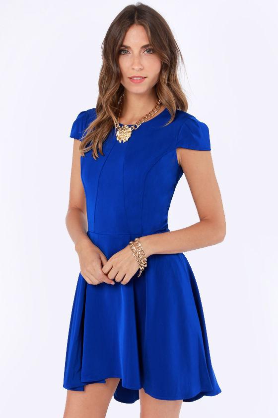 - Cute Skater Dress - Royal Blue Dress - High-Low Dress - $56.00