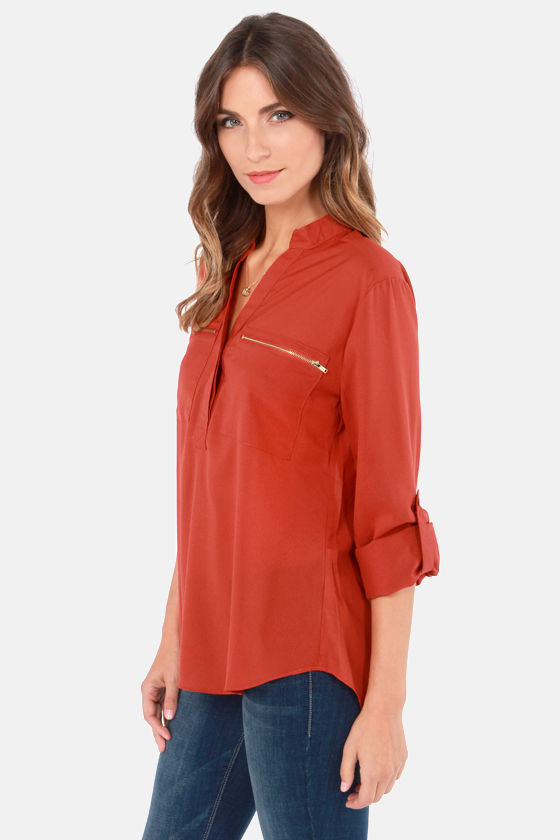 Don't Be Zippin' Rust Orange Top at Lulus.com!