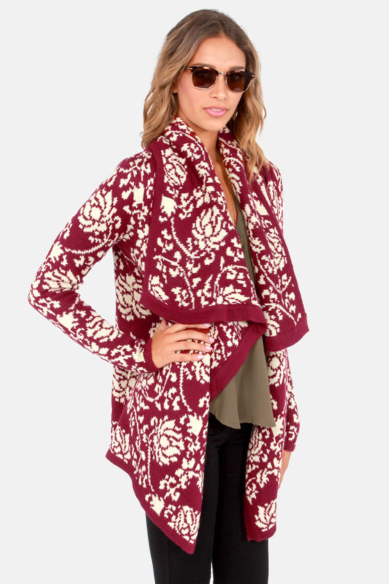 Take Leaf Burgundy Floral Print Cardigan Sweater at Lulus.com!