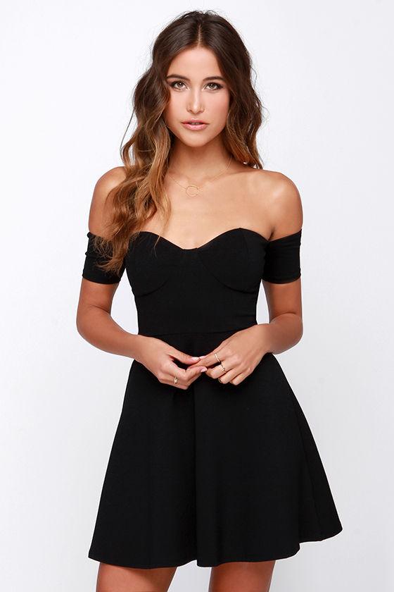 Celebrate Good Times Off-the-Shoulder Black Dress at Lulus.com!