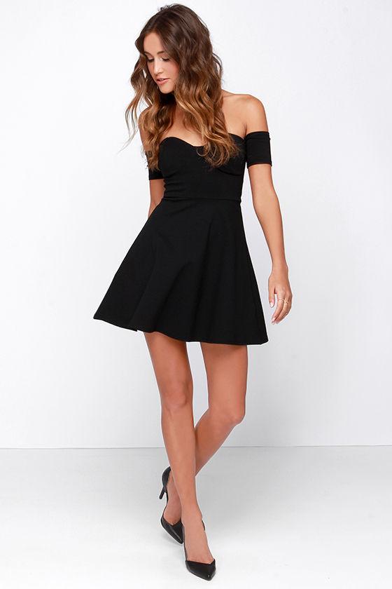 Little Black Dress - Off-the-Shoulder Dress - Skater Dress - $43.00