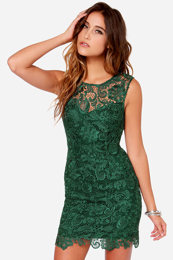 Pretty Green Dress - Lace Dress - Backless Dress - $66.00