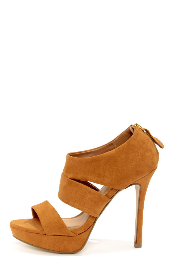 My Delicious Large Light Hazel Suede Cutout Peep Toe Heels at Lulus.com!