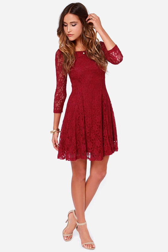 Pretty Wine Red Dress - Lace Dress - Long Sleeve Dress - $47.00