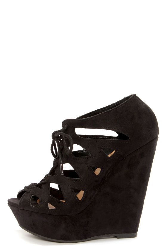 Cute Black Shoes - Black Wedges - Wedge Booties - $30.00