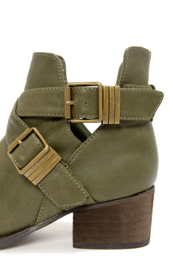 Bronco 11 Military Green Cutout Ankle Boots at Lulus.com!