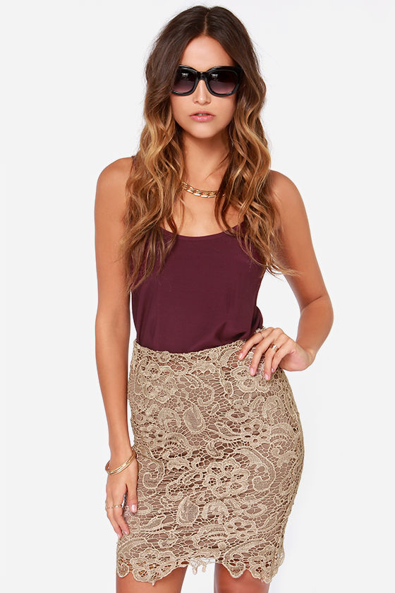 Pretty Taupe Skirt - Lace Skirt - Taupe Pencil Skirt - $47.00