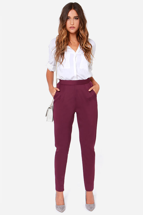 1 - Burgundy Pants - Purple Trousers - High Waisted Pants - $38.00
